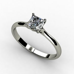 White Gold Solitaire Princess Cut Diamond Ring