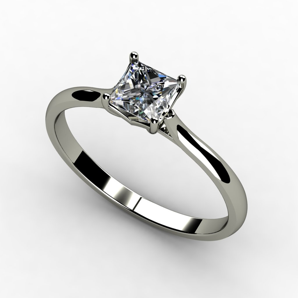 White Gold Solitaire Princess Cut Diamond Ring - The ...