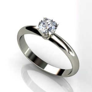 18ct White gold round brilliant solitaire engagement ring