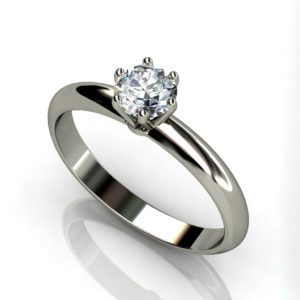 18ct White gold round brilliant cut solitaire 6 claw engagement ring
