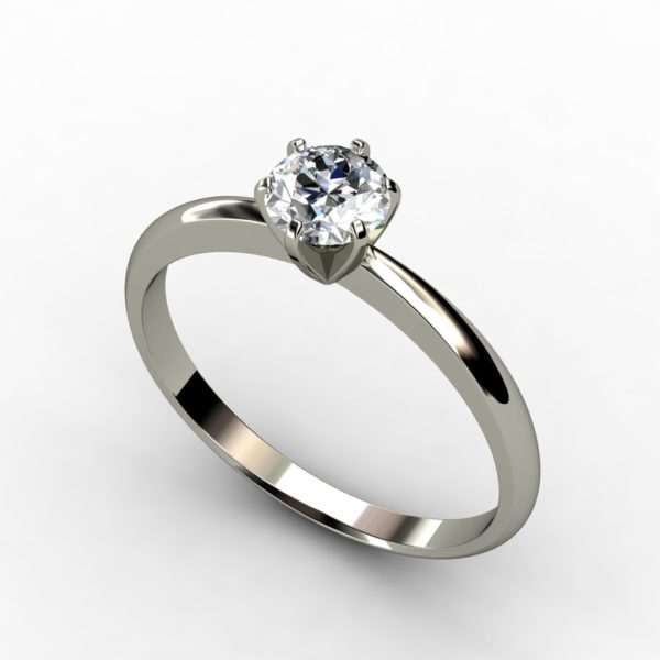 18ct White gold round brilliant cut solitaire 6 claw tiffany engagement ring