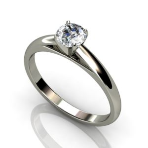 White gold round brilliant cut solitaire 6 claw engagement ring W1RC-014