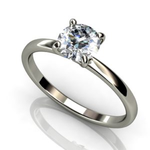 White gold solitaire round brilliant cut diamond engagement ring W1RC-016
