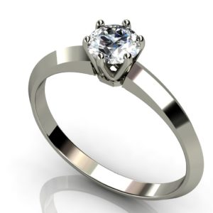 White gold solitaire round brilliant cut diamond engagement ring - Classic tiffany style W1RC-017