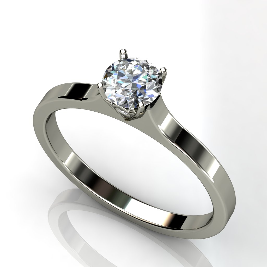 White gold solitaire round brilliant cut diamond engagement ring W1RC-018