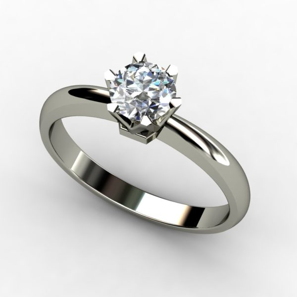 white gold solitaire round brilliant cut diamond engagement ring  W1RC-019