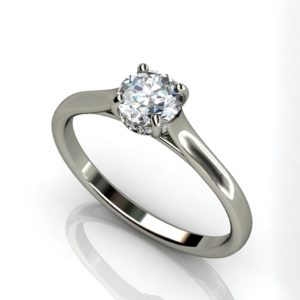 White gold solitaire round brilliant Cut engagement ring -W1RCSR-12