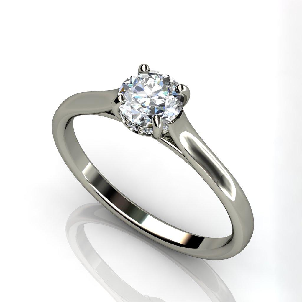White gold solitaire round brilliant Cut engagement ring -W1RCSR-12