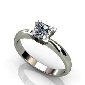 18t White gold solitaire princess cut diamond engagement ring