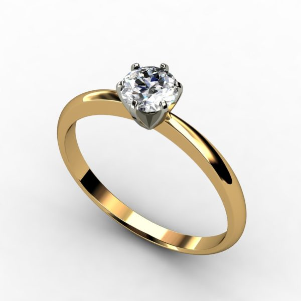 18ct yellow and white gold round brilliant cut solitaire 6 claw tiffany engagement ring