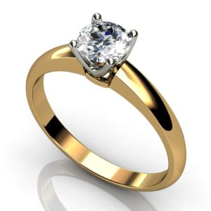 White and yellow gold round brilliant cut solitaire setting engagement ring -WY1RC-010