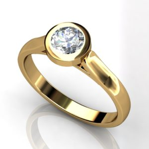 Yellow gold round brilliant cut solitaire engagement ring  -Y1RC-011