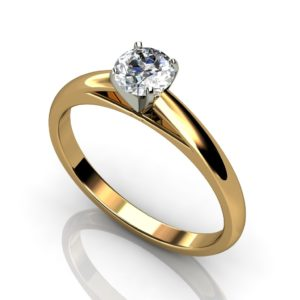 Yellow and white gold solitaire round brilliant cut diamond engagement ring  YW1RC-015